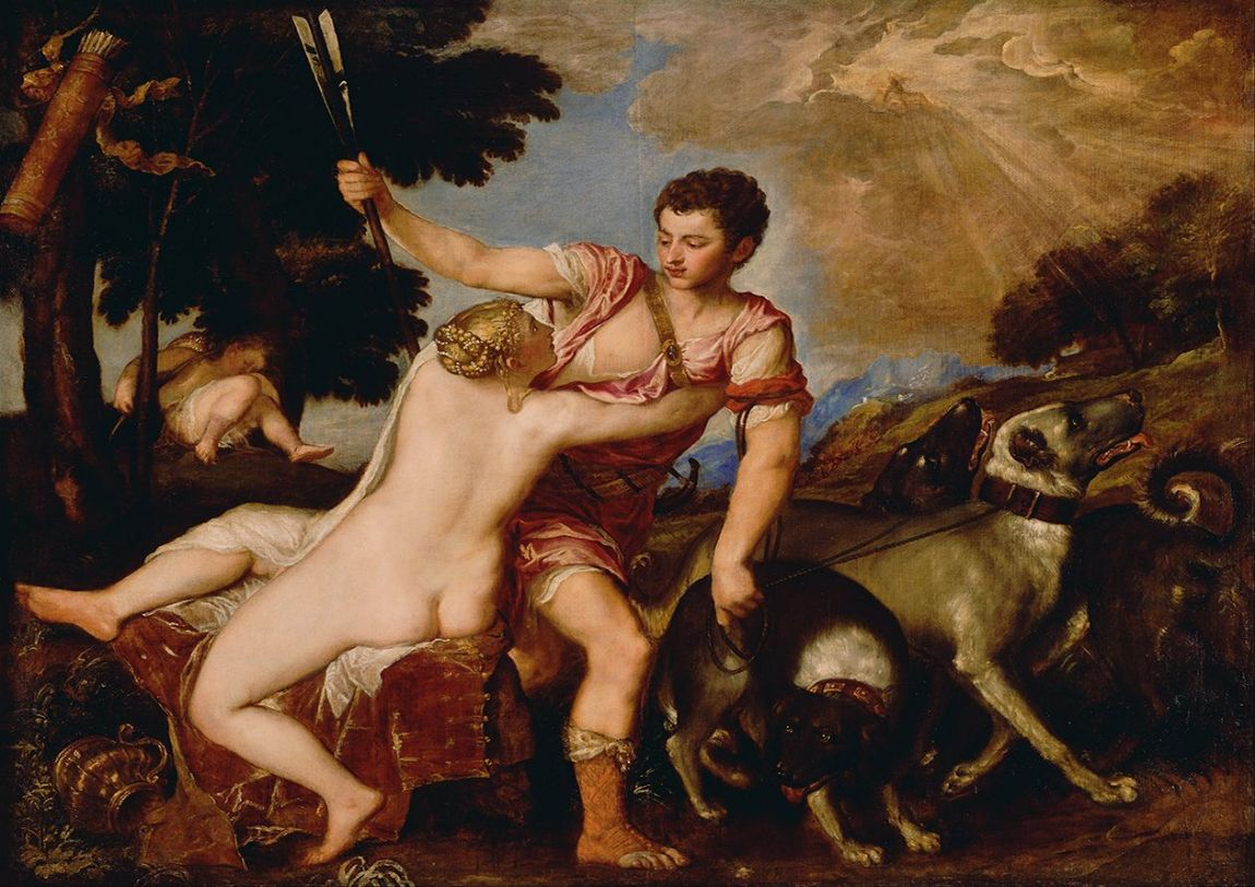 Titian (Tiziano Vecellio): Venus and Adonis. Greek and Roman Mythology Fine Art Print/Poster. Sizes: A4/A3/A2/A1 (001963)